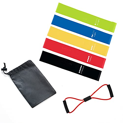 YIWINIAID Resistance Loop, 5 Pack Elastic Exercise Bands 5 Different Resistance Levels for Workout, Aerobic Exercise, Fitness with User Manual and Carry Bag.