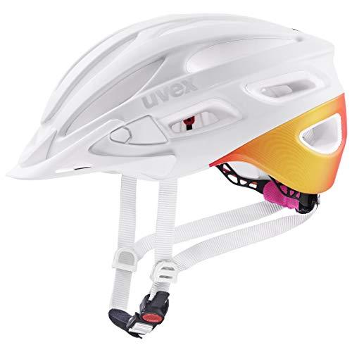 uvex Unisex– Erwachsene, true cc Fahrradhelm, white - peach mat, 55-58 cm