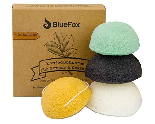 BlueFox Konjac Schwamm 4er Set mit Bambuskohle, Grüner Tee, Kurkuma, Körper-, Gesichtsschwamm, Gesichtsreiniger gegen unreine und fettige Haut, Mischhaut, aus biologischem Anbau, nachhaltig