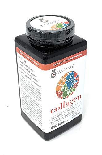 Youtheory colágeno fórmula avanzada, piel, cabello y uñas mejoradas con vitamina C, 0.21oz de colágeno tipo 1, 2 y 3 con 18 aminoácidos, 390 tabletas
