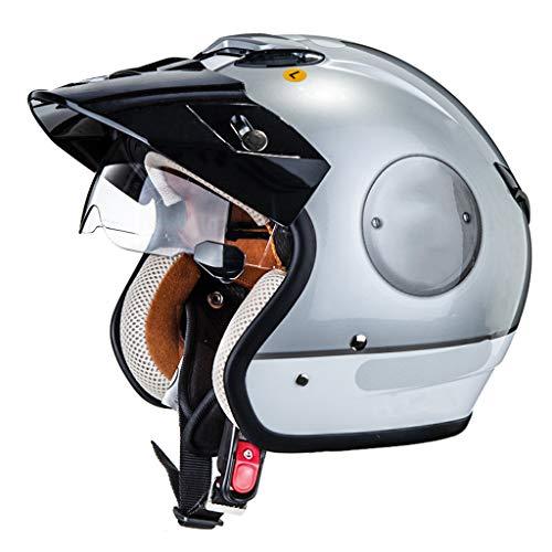 GAOZ Casco Jet Retro de Moto,Street Bike Cruiser Chopper Moped Scooter Casco de Moto Harley Medio Casco con Gafas de Sol incorporadas Dot Homologado