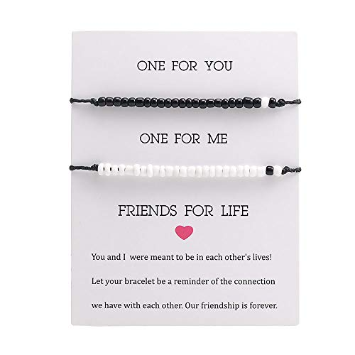 SUMMER LOVE Best Friend Distance Matching Bracelets with Message Card Mini Bead Essential Oil Beads Charm Couple Sisters Bracelet Anklets Gift for Friendship Family