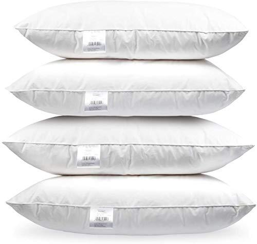 H&F Heimtextilien 4er Set Premium Qualität | Kopfkissen 80x80 cm | Füllung: 1500 Gramm Federn, Gänsefedern | 100% Natur Kissen | Bezug: 100% Baumwolle | Federkissen 80 x 80 cm | Oeko-TEX Zertifiziert
