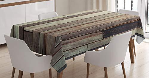 ABAKUHAUS De Madera Mantele, Estilo Occidental de América, Resistente al Agua Lavable Colores No Destiñen Personalizado, 140 x 170 cm, marrón