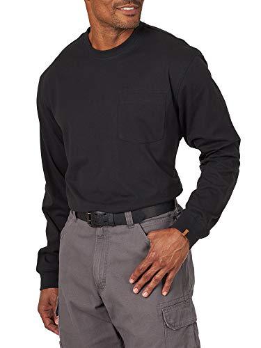 Wrangler Riggs Workwear Men's Long Sleeve Pocket Performance T-Shirt, Black, Large