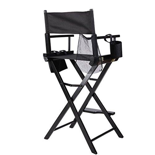 Klappbar Regiestuhl, Make-up Chair faltbar, Klappstuhl Holz, Faltstuhl mit Seitentaschen, Klappstuhl mit Armlehnen, Schminkstuhl, faltbar, mit bis zu 120 kg belastbar (Schwarz)