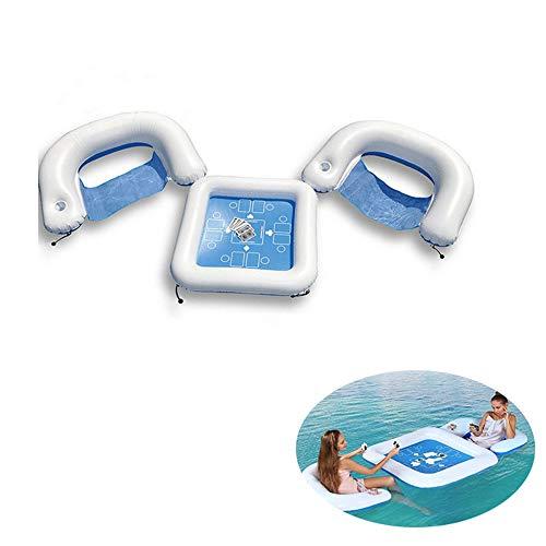 XXSLY Mesa de Juego Flotante Inflable, Juego de Mesa Flotante de Deporte acuático y sillas con Naipes Impermeables, para Deportes acuáticos de Verano al Aire Libre