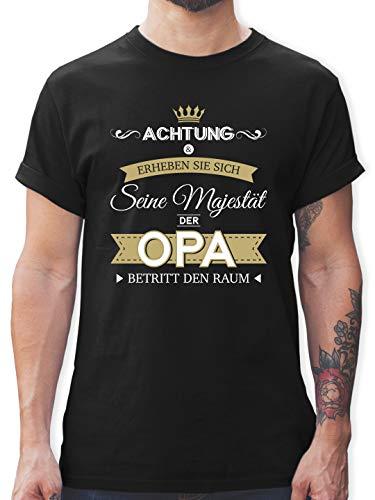 Opa - Seine Majestät der Opa - L - Schwarz - lustige sprüche Tshirt Herren - L190 - Tshirt Herren und Männer T-Shirts