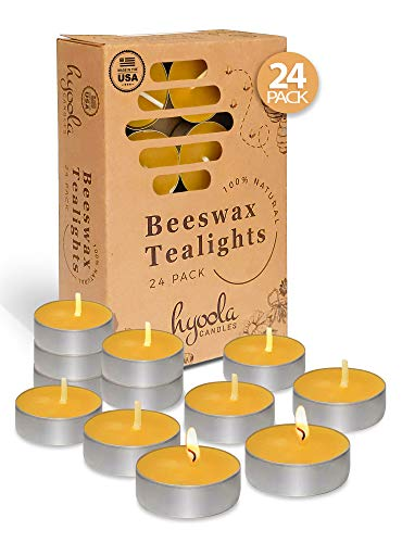 Hyoola Beeswax Tealight Candles in Aluminum Cup - 24 Pack - 100% Pure Natural Beeswax Candles