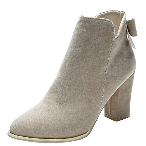 Ansenesna Stiefeletten Damen Beige Mit Absatz Chelsea Winter Schuhe Veloursleder Mode Vintage...