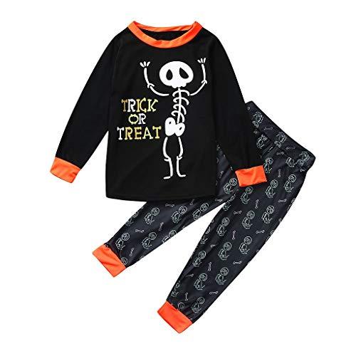 YWLINK Conjunto De Pijama Familiar Camiseta De Manga Larga con Estampado De Esqueleto Arriba+Pantalones Juegos De rol De Halloween Pijama De Fiesta Mezclas De AlgodóN Ropa(Negro,7-8 años/120)