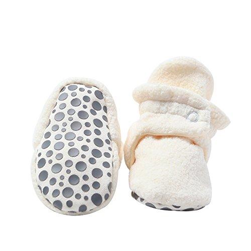 Zutano Cozie Fleece Baby Booties with Grippers, Cream, 12M