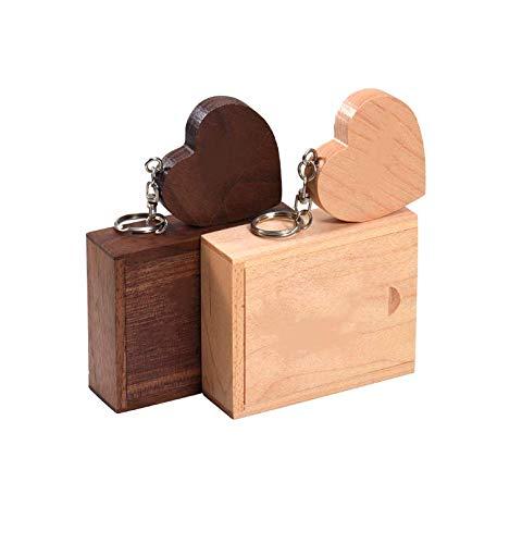 Anloter - Chiavetta USB 2.0 a forma di cuore, in legno di noce, 2 pezzi, 32 GB, USB 2.0