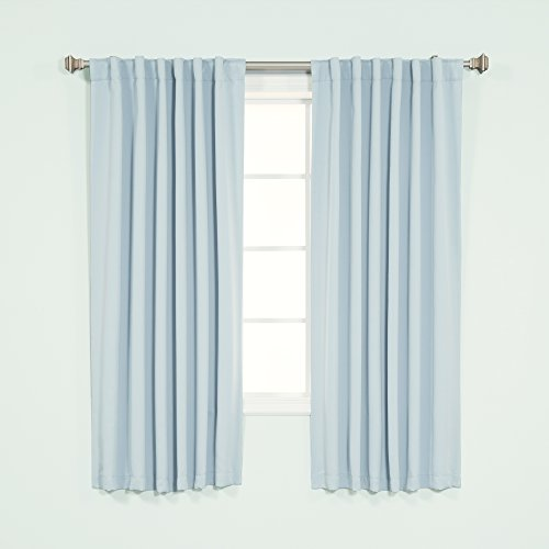 Best Home Fashion Premium Blackout Curtain Panels - Solid Thermal Insulated Window Treatment Blackout for Bedroom - Back Tab & Rod Pocket – Sky.Blue - 52
