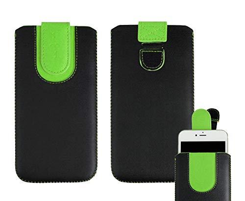 emartbuy Schwarz/Grün Premium PU Leder Slide In Hülle Abdeckung Tashe Hülle Sleeve Halter (Größe SA6) Mit Zuglaschen Mechanismus Geeignet Für Die Unten Aufgeführten Smartphones