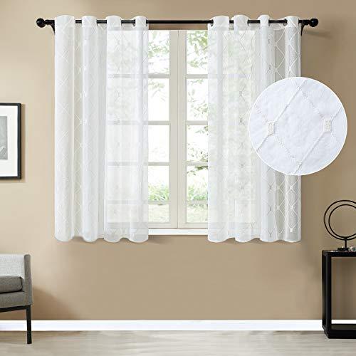 Topfinel Voile Gardinen mit Ösen Kariert Vorhänge Dekoschal mit Stickerei für Wohnzimmer Schlafzimmer 2er Set je 160x140cm (HxB) Weiß