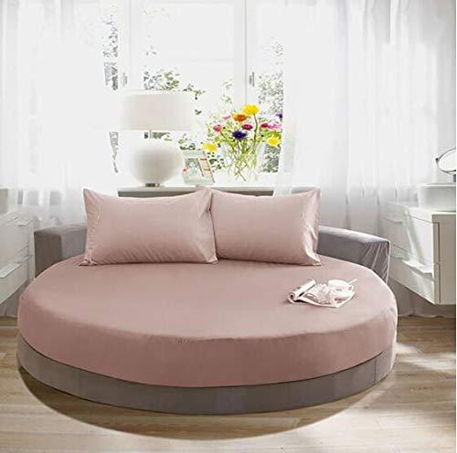 EYRLISL Sábana Ajustable Redonda de algodón Color sólido Funda de Cama Redonda Juego de Cama Funda de colchón Topper 180x180cm 15