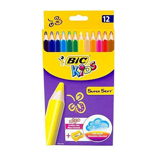 BIC Kids Jumbo Dreikant Buntstifte Set für Kinder ab 3 Jahren - Malen wie Wachsmalstifte - Buntstifte 12er Set - 12 bruchsichere Stifte + Jumbo Anspitzer