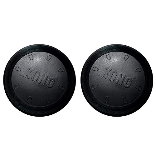 Kong Flyer - Rubber Dog Frisbee, Soft Rubber Dog Fetch Toy for Improving Dogs Mental & Physical Development, Teething, Exercising, Supports Bigger Breeds, Non-Toxic Soft Frisbee, Black (2-Pack)