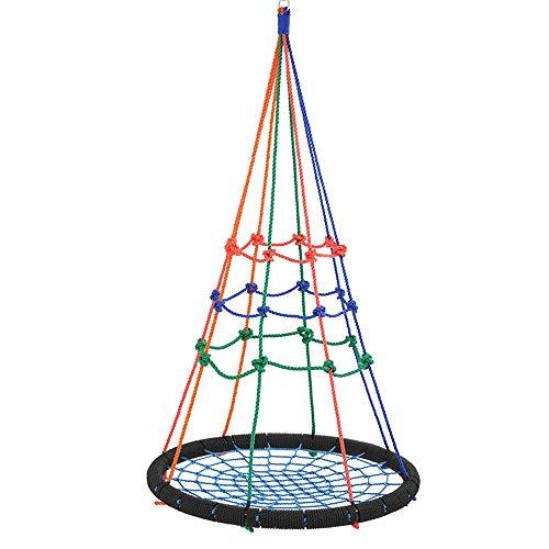 DaQingYuntur Klassischer Schaukelsitz for Kinder Kinder, Hänge SeilMacrame Hammock Swing-Stuhl for Indoor, Outdoor Heim, Terrasse, Veranda, Hof (100 cm Durchmesser)
