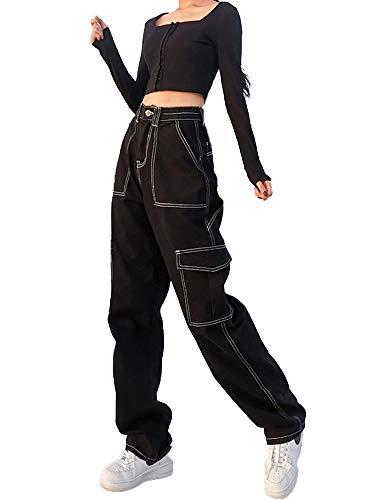 Pantalones vaqueros holgados para mujer, cintura alta, bolsillos anchos en la pierna, pantalones rectos, acampanados, pantalones vaqueros tipo lápiz, E-Girl Streetwear