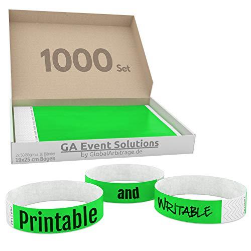 1000 Eintrittsbänder aus Tyvek zum selbst gestalten und bedrucken in Grün von GA Event Solutions - Party Einlassbänder, Festival Armbänder für dein Event