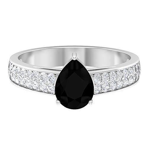 Anillo de compromiso de 1,25 CT con diamante negro creado en laboratorio y moissanita, 14K Oro blanco, Size:EU 50