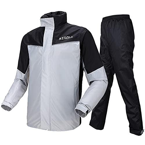 Antipioggia Moto, Tuta Impermeabile Giacca Pantaloni Unisex Uomo/Donna con riflettori di Sicurezza(XL,Grigio)
