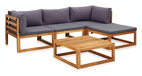 K&A Company Outdoor Furniture Set, 5 Piece Garden Lounge Set with Cushions Solid Acacia Wood