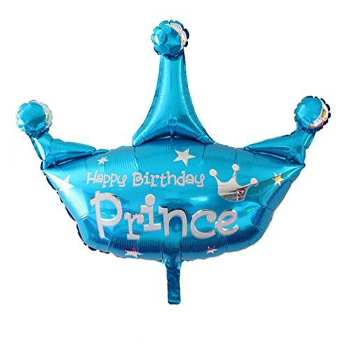 Freessom Ballons Anniversaire Gonflable Geant Prince Happy Birthday Aluminium Décoration Enfant Bebe Fille Garcon Banquet Bal Soirée Fête (Bleu)