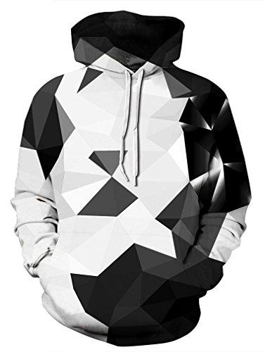 Leslady Unisex Herren Slim Fit 3D Druck Kapuzenpullover Kapuzen Sweatshirt Winter Hoodie Pullover(Large/X-Large, 5-Schwarzer Kristall)