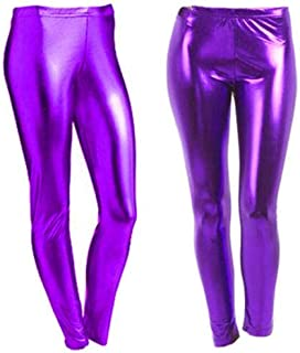 Women Metallic Leggings Foil Wet Look Shiny Ladies Pant Disco Party Club Legging#(Purple Metallic Shiny Legging#UK 12#Womens)