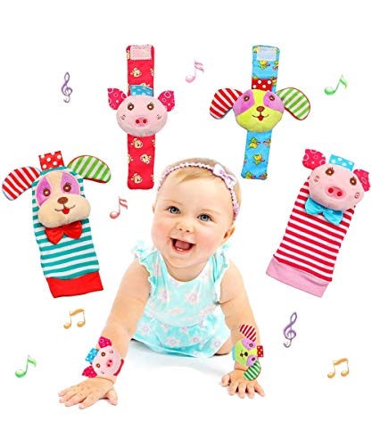 Conjunto de brinquedos para chocalho de bebê, chocalhos de pulso para bebês e meias localizadoras de pés, brinquedo de brinquedo de animal macio de desenvolvimento educacional (4 Pack)