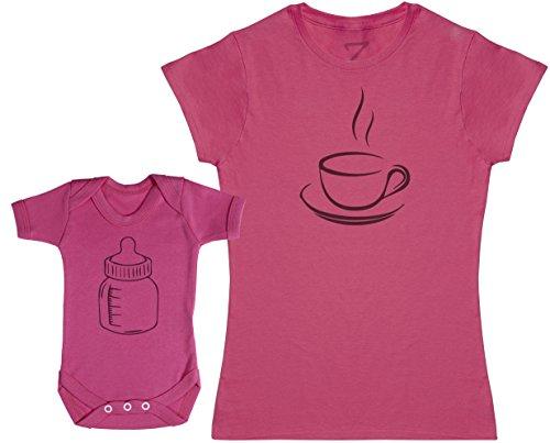 Zarlivia Clothing Coffee and Milk - Ensemble Mère Bébé Cadeau - Femme T Shirt & bébé Bodys - Rose - L & 18-24 Mois