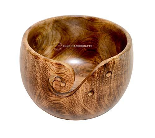 Premium massief donker beukenhout handgemaakte houten draagbare antieke koper garen kom met touw voering/rand | breien | haak houder | Hind handwerk (6 x 6 x 4 inch)