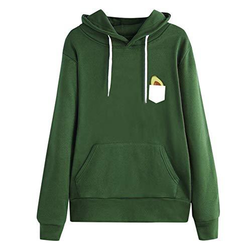 Moda Sudaderas Jersey Sweater Sudadera Mujer Manga Larga Estampado Casual Pullover con Capucha Tops Ropa De Calle con Capucha 4XL Verde
