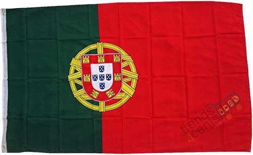 Top qualité - drapeau Portugal 250 x 150 cm - Extrêmement résistant à la déchirure - Pas de vaisselle en porcelaine pas chère Poids: environ 100 g / m2, très résistant, oeillets en laiton extra-forts