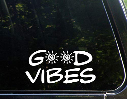 "Good Vibes - 8"" x 4"" - Vinyl Die Cut Decals/Bumper Stickers For Windows, Cars, Trucks, Laptops, Etc."