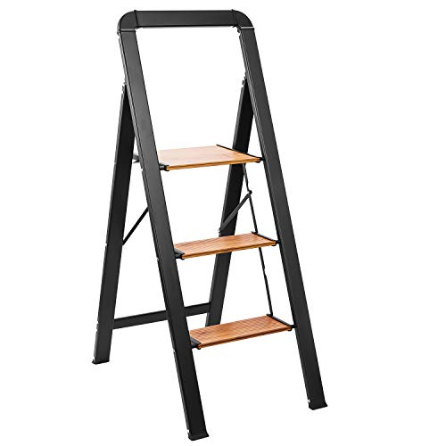Delxo Aluminum 3 Step Ladder,2020 Upgrade Lightweight Folding Step Stool with Long Handle, Anti-Slip Study Pedal, Classic Wood Look Without Wood Worry Step Ladder, Hold Up to 330LB