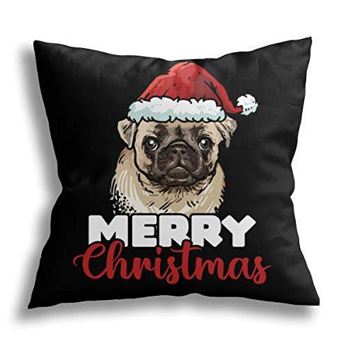 HCLIFE-Merry Christmas Pug Dog - Federa copricuscino decorativa per cuscino con scritta 'Merry Christmas' per divano letto 50,8 x 50,8 cm