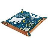 Ledertablett,Leder Vektor-Set gute Nacht mit Eisbär Schneeeule Tablett,Taschenleerer Tablett für Aufbewahrungsschlüssel-Münzen-Schmuckuhr