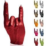 Candellana Candela Mano cornuta | Altezza: 19,2 cm | Rosso | Durata: 30 Ore | DimensionidiUna Mano Reale | Fatta a Mano nell'UE