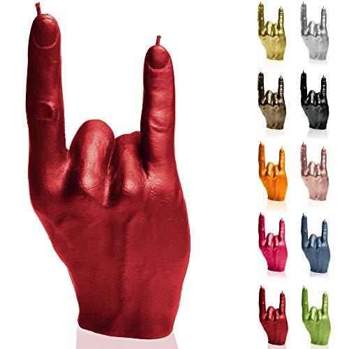 Candellana Kerze Hand RCK | Höhe: 19,2 cm | Rot | Brennzeit 30h | Kerzengröße gleicht 1:1 einer realen Hand | Handgefertigt in der EU