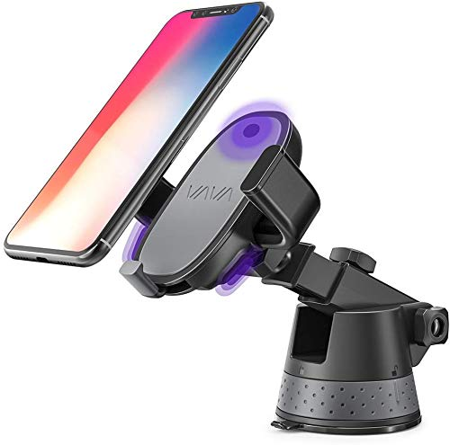 VAVA Home E-Touch Phone Holder for Car, Electric Auto Lock Car Phone Mount for Dashboard & Windshield Compatible with iPhone Xs Max XR X 8 7 Plus Galaxy S9 S8 Plus Note 9 8 and More