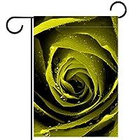 ガーデンフラグウェルカムバナーフラグヤードガーデン屋外装飾オールシーズンの垂直両面アートフラグロマンチックな緑のバラの花