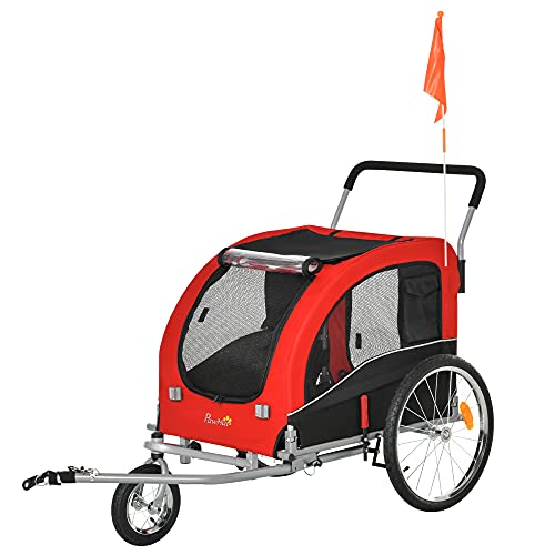 Pawhut Remolque de Bicicleta Perros Plegable Carrito de Transporte para Mascotas con 1 Bandera 4 Reflectores Enganche y Cubierta de Lluvia Tela Oxford 162x74x85 cm Rojo