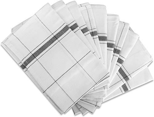 normani 10 x Geschirrhandtücher Halbleinen in verschiedenen Ausführungen wählbar Farbe Profi Wipe/Grau Größe 55 x 75 cm