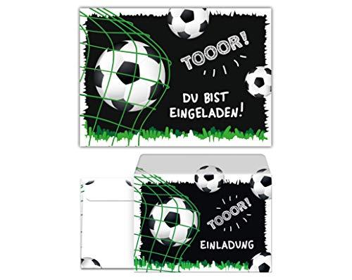12 Einladungskarten incl. 12 Umschläge zum Kindergeburtstag Jungen Fussball Fußball