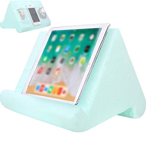 Souleden Tablet Soft Pillow Stand with Mesh Storage Pockets Multi-Angle Soft Bed Pillow Holder Lap Stand for Tablets Readers Books Magazines Kindle Green