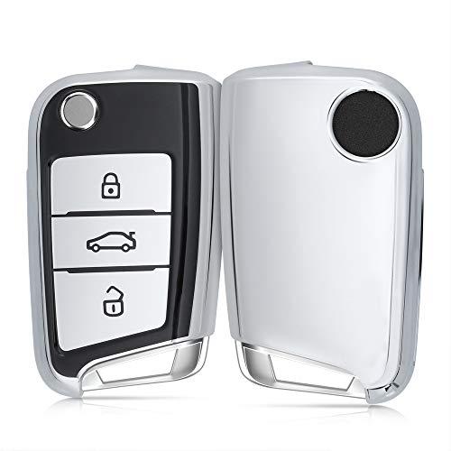 kwmobile Autoschlüssel Hülle kompatibel mit VW Golf 7 MK7 3-Tasten Autoschlüssel - TPU Schutzhülle Schlüsselhülle Cover in Schwarz Hochglanz Silber